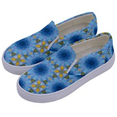 Blue Nice Daisy Flower Ang Yellow Squares Kids  Canvas Slip Ons by MaryIllustrations