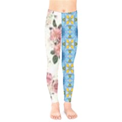 Pink And White Flowers  Kids  Legging by MaryIllustrations