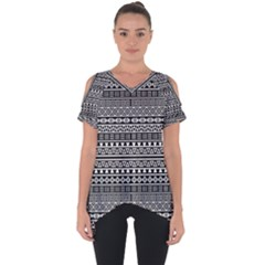 Aztec Influence Pattern Cut Out Side Drop Tee