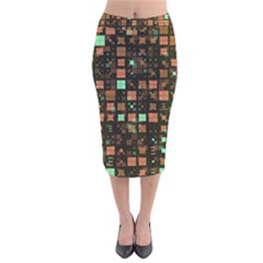 Small Geo Fun A Velvet Midi Pencil Skirt by MoreColorsinLife