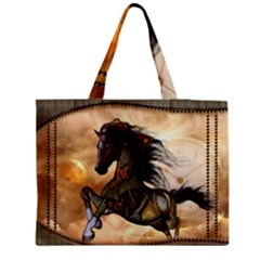 Steampunk, Wonderful Steampunk Horse With Clocks And Gears, Golden Design Zipper Medium Tote Bag by FantasyWorld7