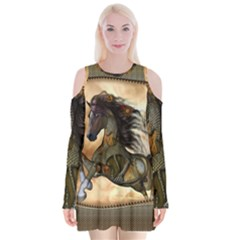 Steampunk, Wonderful Steampunk Horse With Clocks And Gears, Golden Design Velvet Long Sleeve Shoulder Cutout Dress by FantasyWorld7