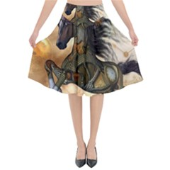Steampunk, Wonderful Steampunk Horse With Clocks And Gears, Golden Design Flared Midi Skirt by FantasyWorld7