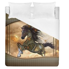Steampunk, Wonderful Steampunk Horse With Clocks And Gears, Golden Design Duvet Cover (queen Size) by FantasyWorld7