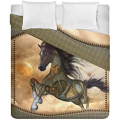Steampunk, Wonderful Steampunk Horse With Clocks And Gears, Golden Design Duvet Cover Double Side (california King Size) by FantasyWorld7