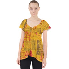 Abstract Art Lace Front Dolly Top