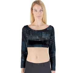 Abstract Art Long Sleeve Crop Top by ValentinaDesign