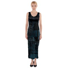 Abstract Art Fitted Maxi Dress by ValentinaDesign