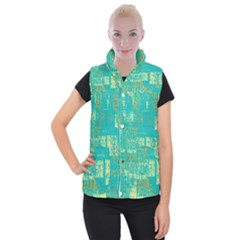 Abstract Art Women s Button Up Puffer Vest by ValentinaDesign