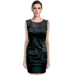 Abstract Art Sleeveless Velvet Midi Dress