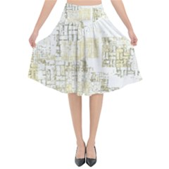 Abstract Art Flared Midi Skirt
