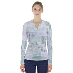 Abstract Art V Neck Long Sleeve Top