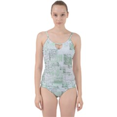Abstract Art Cut Out Top Tankini Set