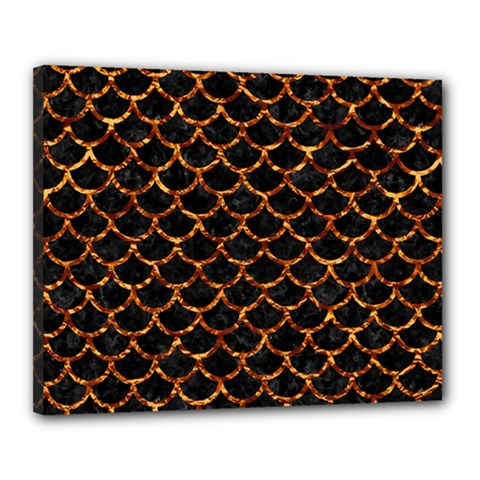 Scales1 Black Marble & Copper Foil Canvas 20  X 16  by trendistuff