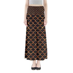 Scales1 Black Marble & Copper Foil Full Length Maxi Skirt by trendistuff