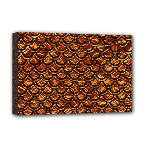 Scales2 Black Marble & Copper Foil (r) Deluxe Canvas 18  X 12   by trendistuff