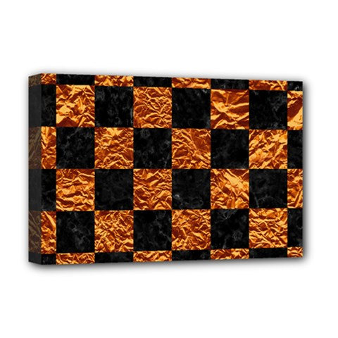 Square1 Black Marble & Copper Foil Deluxe Canvas 18  X 12   by trendistuff