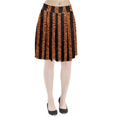 Stripes1 Black Marble & Copper Foil Pleated Skirt
