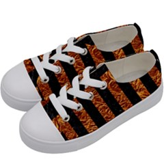 Stripes1 Black Marble & Copper Foil Kids  Low Top Canvas Sneakers by trendistuff