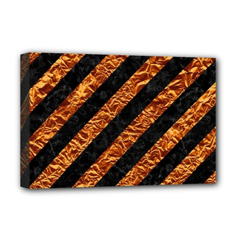 Stripes3 Black Marble & Copper Foil Deluxe Canvas 18  X 12   by trendistuff