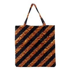 Stripes3 Black Marble & Copper Foil Grocery Tote Bag by trendistuff
