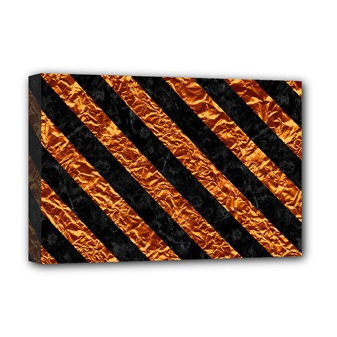 Stripes3 Black Marble & Copper Foil (r) Deluxe Canvas 18  X 12   by trendistuff