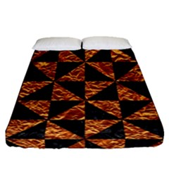 Triangle1 Black Marble & Copper Foil Fitted Sheet (queen Size) by trendistuff