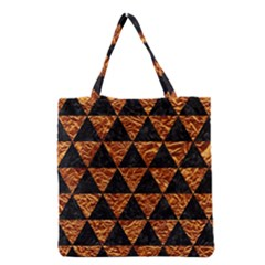Triangle3 Black Marble & Copper Foil Grocery Tote Bag by trendistuff
