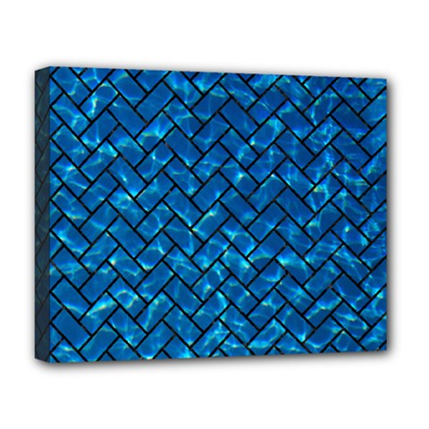 Brick2 Black Marble & Deep Blue Water (r) Deluxe Canvas 20  X 16   by trendistuff
