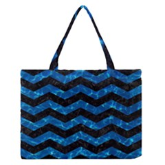 Chevron3 Black Marble & Deep Blue Water Zipper Medium Tote Bag by trendistuff