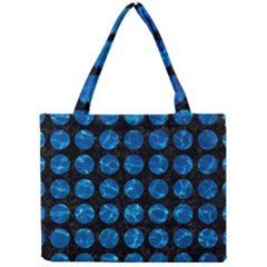 Circles1 Black Marble & Deep Blue Water Mini Tote Bag