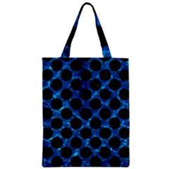 Circles2 Black Marble & Deep Blue Water (r) Zipper Classic Tote Bag by trendistuff