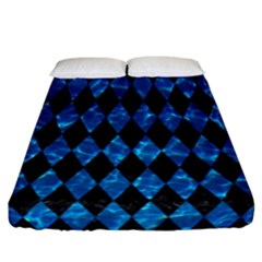 Diamond1 Black Marble & Deep Blue Water Fitted Sheet (california King Size) by trendistuff