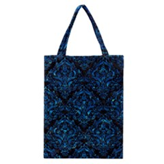 Damask1 Black Marble & Deep Blue Water Classic Tote Bag by trendistuff