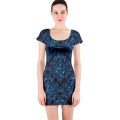 Damask1 Black Marble & Deep Blue Water Short Sleeve Bodycon Dress by trendistuff