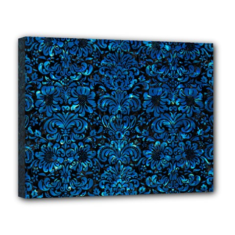 Damask2 Black Marble & Deep Blue Water Canvas 14  X 11  by trendistuff
