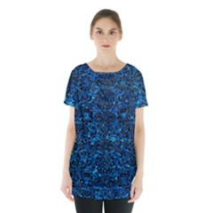 Damask2 Black Marble & Deep Blue Water (r) Skirt Hem Sports Top by trendistuff