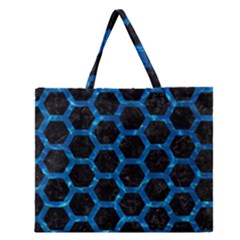 Hexagon2 Black Marble & Deep Blue Water Zipper Large Tote Bag by trendistuff