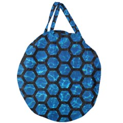 Hexagon2 Black Marble & Deep Blue Water (r) Giant Round Zipper Tote by trendistuff