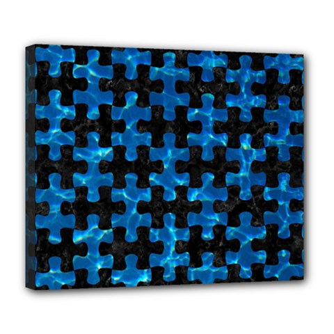 Puzzle1 Black Marble & Deep Blue Water Deluxe Canvas 24  X 20   by trendistuff