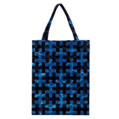 Puzzle1 Black Marble & Deep Blue Water Classic Tote Bag by trendistuff