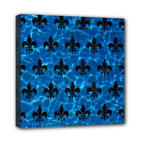 Royal1 Black Marble & Deep Blue Water Mini Canvas 8  X 8  by trendistuff