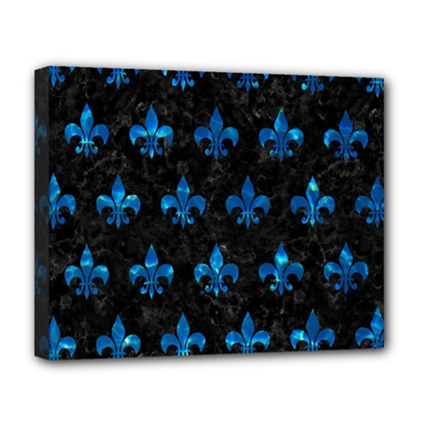 Royal1 Black Marble & Deep Blue Water (r) Deluxe Canvas 20  X 16   by trendistuff