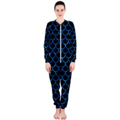 Scales1 Black Marble & Deep Blue Water Onepiece Jumpsuit (ladies)  by trendistuff