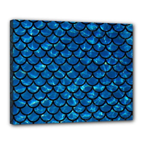 Scales1 Black Marble & Deep Blue Water (r) Canvas 20  X 16  by trendistuff