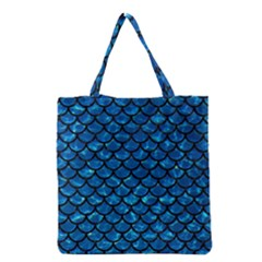 Scales1 Black Marble & Deep Blue Water (r) Grocery Tote Bag by trendistuff