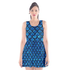 Scales1 Black Marble & Deep Blue Water (r) Scoop Neck Skater Dress