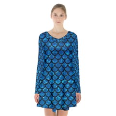 Scales1 Black Marble & Deep Blue Water (r) Long Sleeve Velvet V Neck Dress by trendistuff