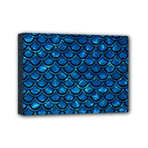 Scales2 Black Marble & Deep Blue Water (r) Mini Canvas 7  X 5  by trendistuff