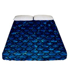 Scales2 Black Marble & Deep Blue Water (r) Fitted Sheet (california King Size) by trendistuff